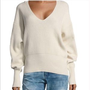 Free People deep v neck ribbed cream sweater